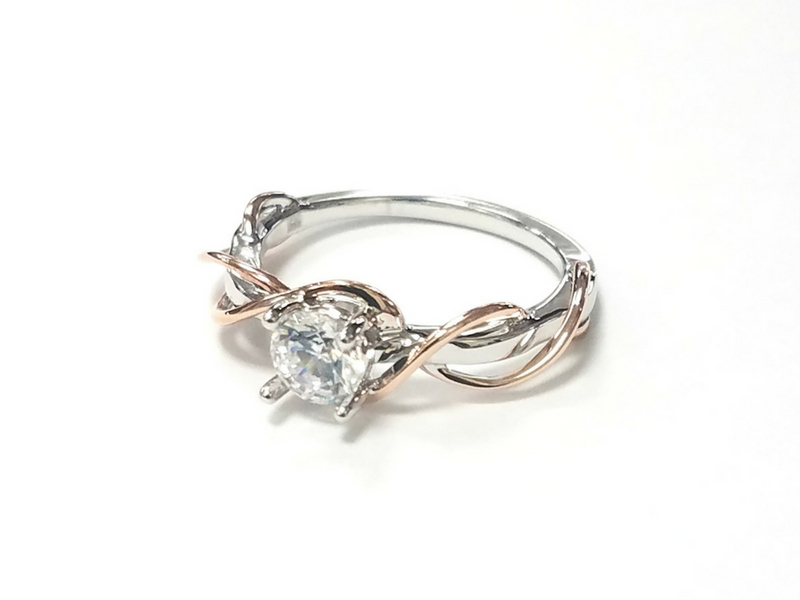 14K White & Rose Gold Solitaire Semi-Mount by Frederic Sage