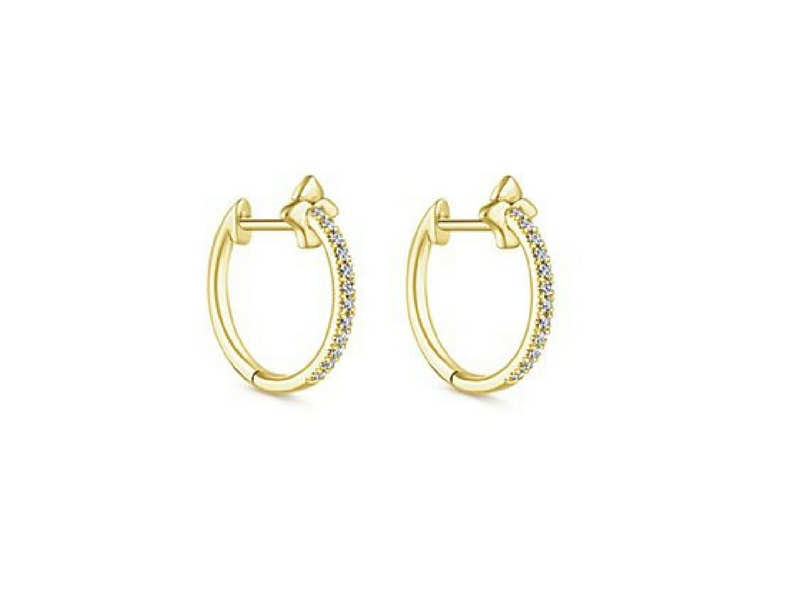 14k yellow gold diamond huggy hoop earrings.   The total carat weight of these diamonds is 0.13ctw s845537