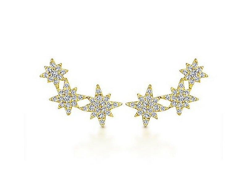 14k yellow gold three star burst diamond earrings.  The total carat weight of these diamonds is 0.42ctw s882010
