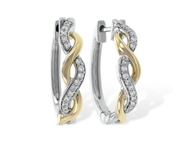 .15 CTW Twisted Diamond Hoops 14K Yellow & White Gold by Allison Kaufman