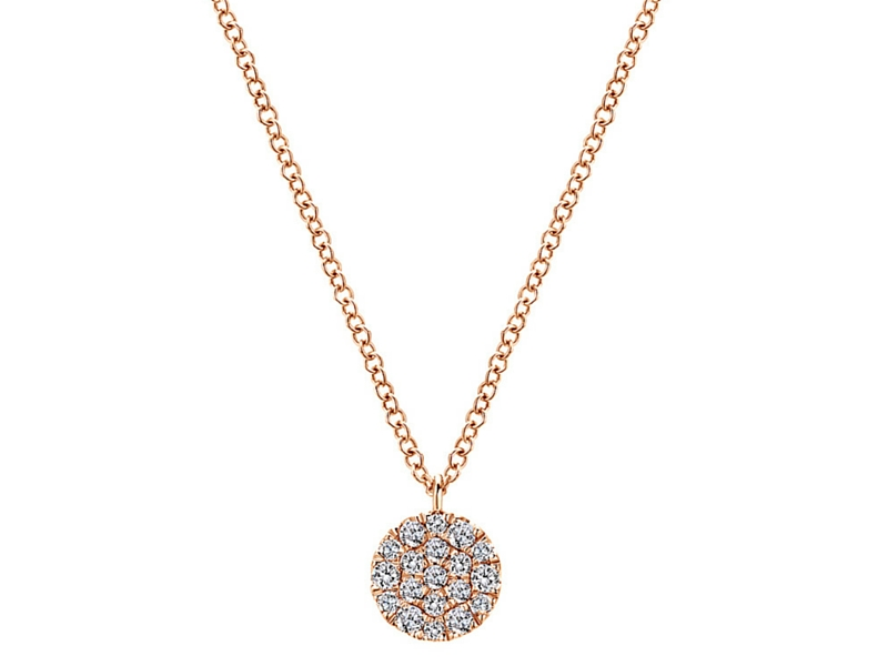 14K Rose Gold Diamond Cluster Necklace.  The Total Carat Weight Of These Diamonds Is 0.25Ctw