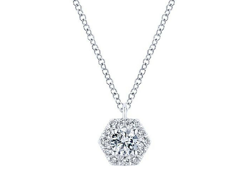 "14k white gold diamond hexagonal halo pendant.  The total carat weight of these diamonds is 0.37ctw.  This pendant is on an 16""-18"" adjustable chain  s910833"
