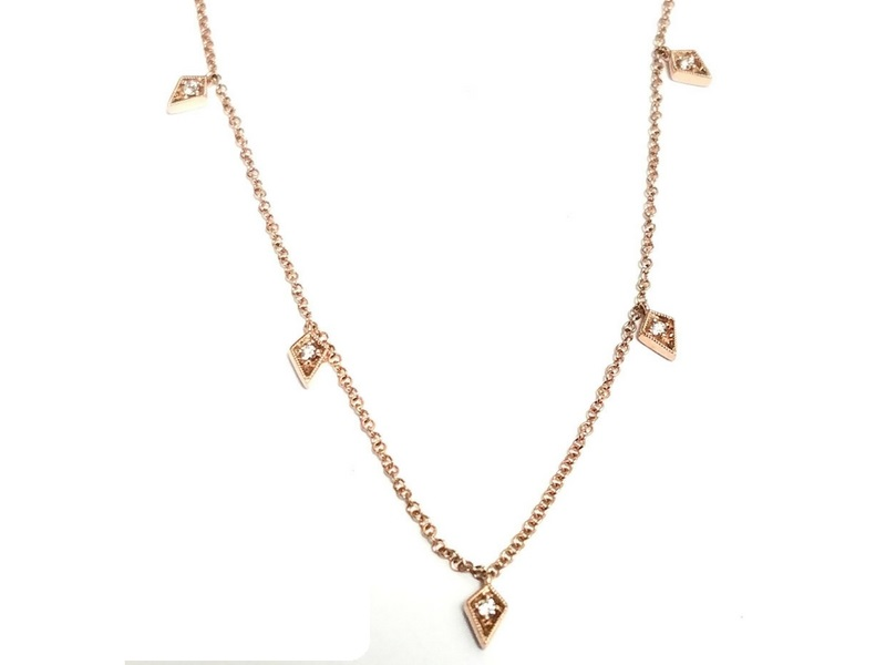 14K Rose Gold Dangle Stationed Diamond Necklace.  The Total Carat Weight Of These Diamonds Is 0.14Ctw  s810365