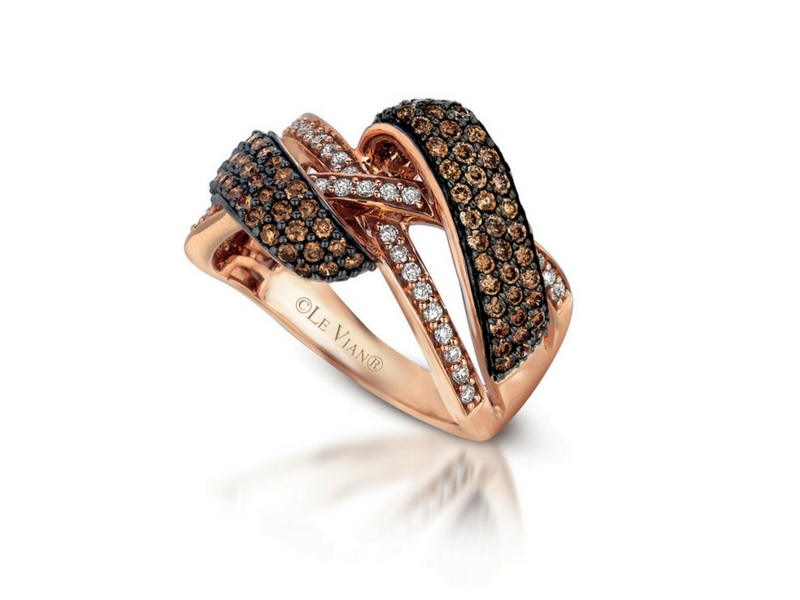 LeVian 14K Rose Gold Chocolate & White Diamond Ring by Le Vian