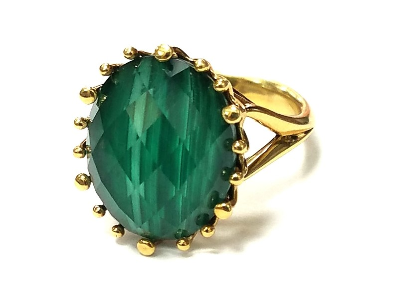 18K Gold Malachite & Crystal Doublet Ring by Frederic Sage