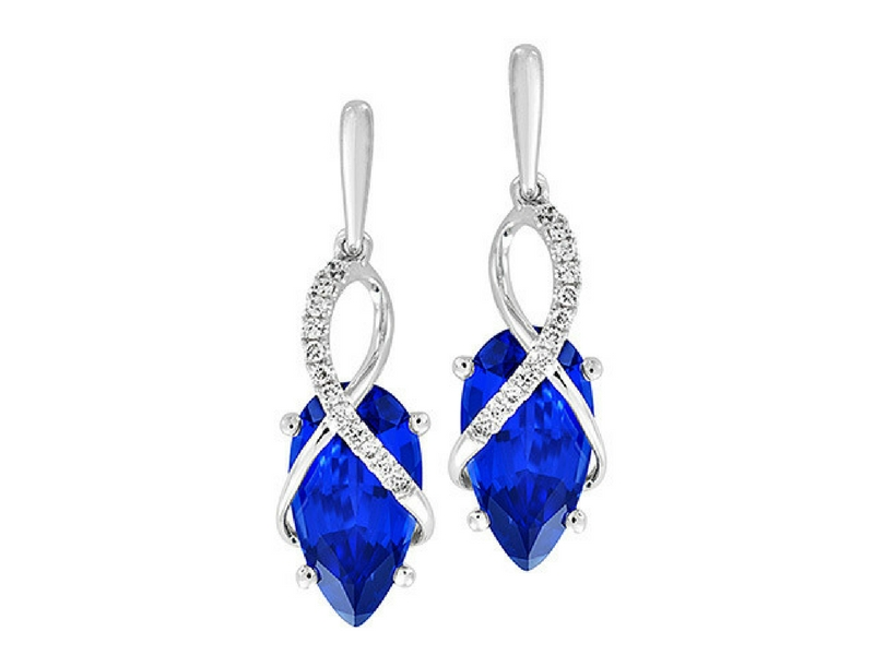 14K White Gold Lab Created Blue Sapphire & Diamond Earrings by Chatham