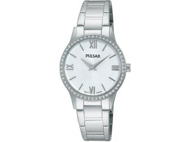 Ladies Silver Tone Pulsar Watch With Round White Patterned Face by Pulsar