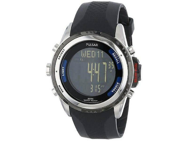 Gents digital black rubber band watch by Pulsar