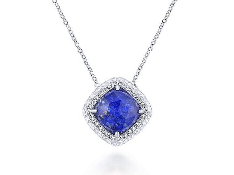 Sterling Silver White Sapphire And Lapis Rock Crystal Doublet Pendant.  S810432
