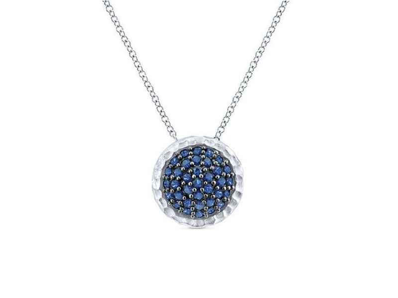 Sterling Silver Blule Sapphire Cluster Necklace.  The carat weight of these sapphires is 0.82ctw
