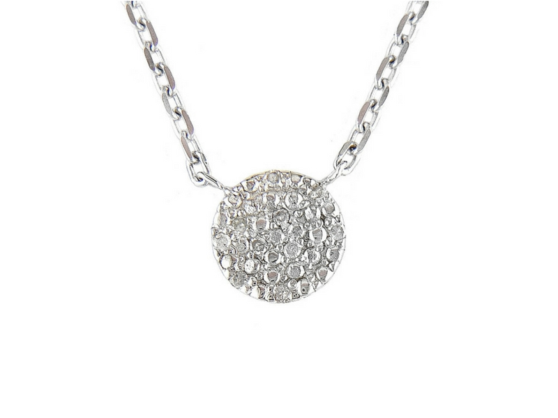 Sterling Silver Pave Diamond Disc Necklace by Secure Hoop
