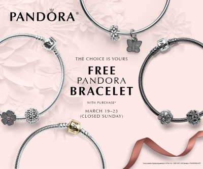 Starting Thursday March 19th And Running Through Monday 23rd 100 In Pandora Jewelry Receive A Free Bracelet This Event Is